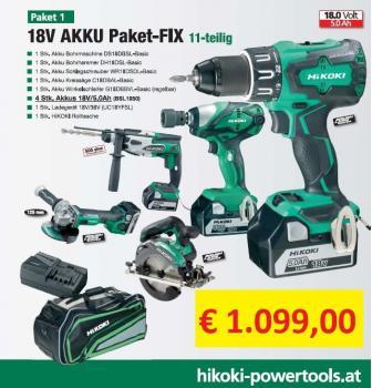 HIKOKI Sonderset - 18V Akku Pack-Fix 11teilig + 3Jahre Österreich Garantie